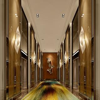 现代豪华电梯间整体模型