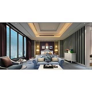 后现代风格卧室整体模型