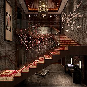 中式楼梯整体模型