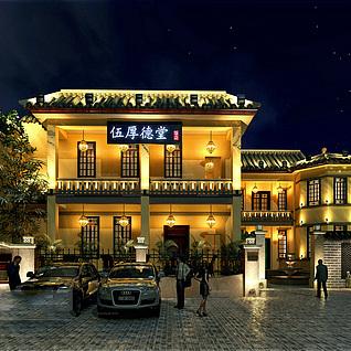 中式古典风门头整体模型