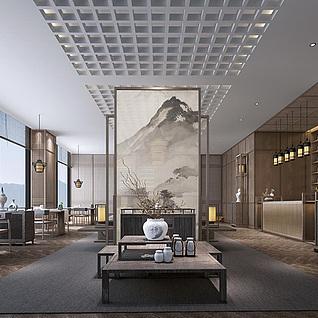日式茶具茶艺厅整体模型