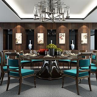 现代奢华餐厅桌椅吊灯组合整体模型