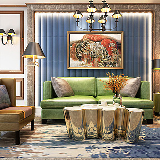 现代简欧客厅3d模型