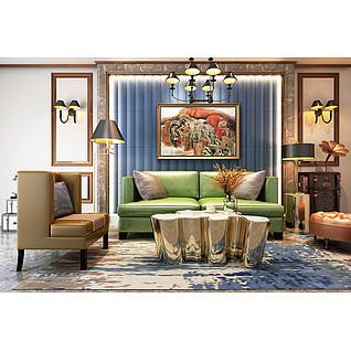 現代簡歐客廳家裝模型
