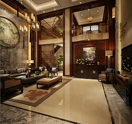 现代中式客厅整体模型