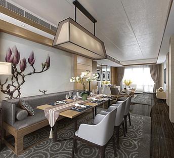 新中式客餐厅木头茶几
