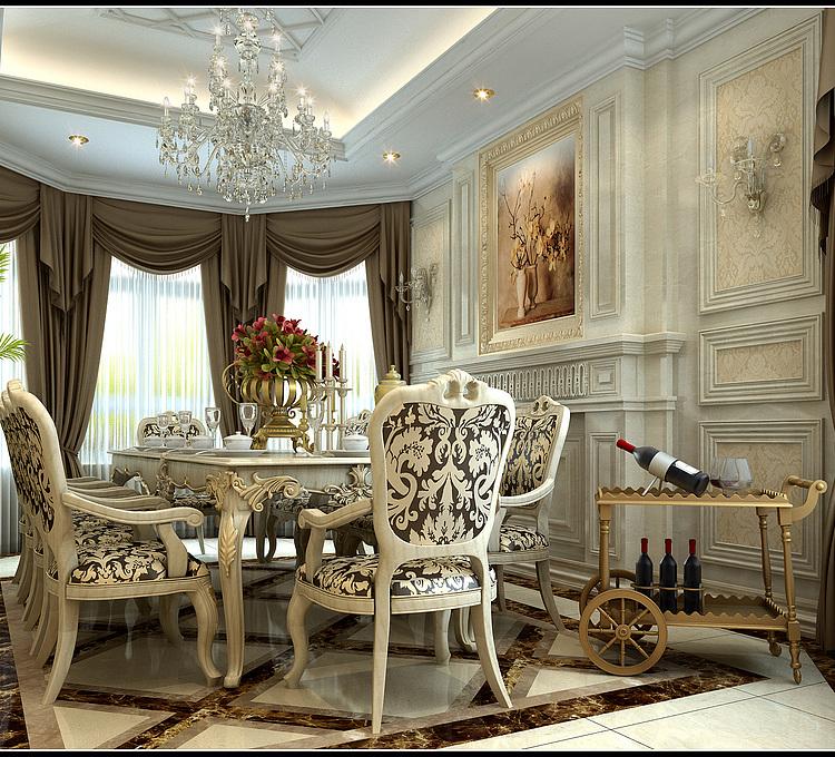 欧式豪华餐厅模型
