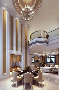 欧式风格客餐厅3d模型