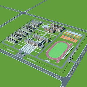 藏族学校规划模型3d模型
