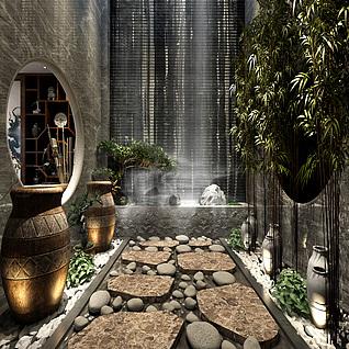 中式景观隐文化3d模型