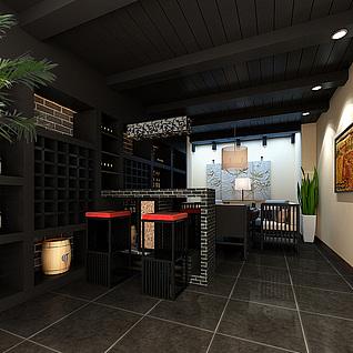 餐厅吧台整体模型