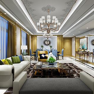 新古典客餐厅3d模型