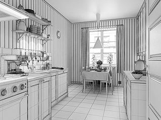 美式厨房餐厅模型3d模型
