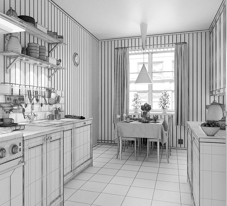 美式厨房餐厅模型模型