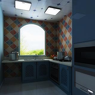 地中海风格厨房整体模型