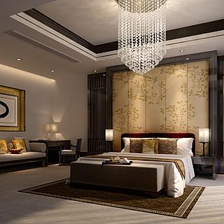 现代风格卧室整体整体模型