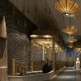 中式复古风餐厅整体模型