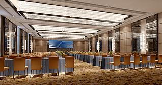 现代大型会议室工装模型