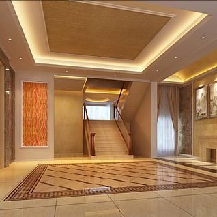 现代客厅户型整体模型