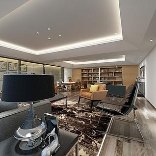 现代宽敞大客厅整体模型