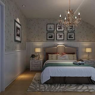 田园风格主卧室3d模型