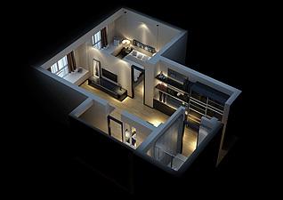 C户型卧室客厅家装模型
