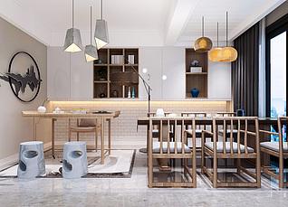 茶室、新中式3d模型