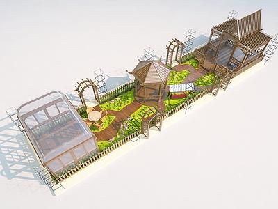 戶外涼亭景觀整體模型