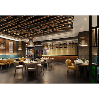 酒店餐馆整体模型