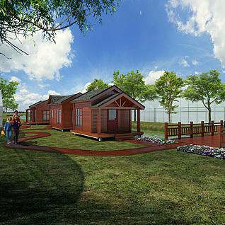 三座木屋整体模型