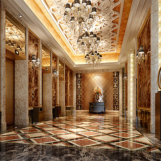 现代豪华酒店电梯过道整体模型