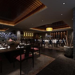 中式风格餐厅整体模型