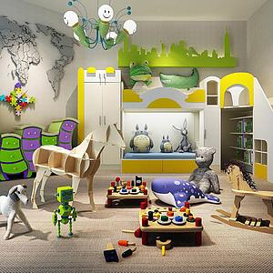卡通柜子雙層<font class='myIsRed'>兒童床</font>卡通吊燈城堡雕刻版地圖造型墻組合整體模型