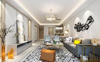 现代简约客厅家装3d模型