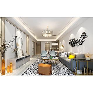 現代簡約客廳家裝模型
