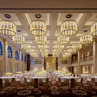简欧宴会厅整体模型