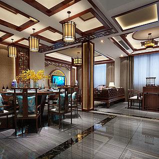 新中式餐厅整体模型