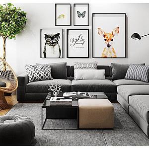 现代北欧<font class='myIsRed'>转角沙发</font>茶几?#19968;?#21333;人椅盆景植物组合整体模型