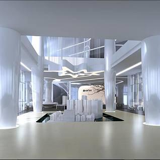现代房地产售楼部整体整体模型