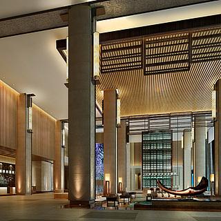 现代豪华大堂大厅整体模型