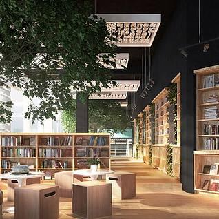 现代豪华图书馆整体模型