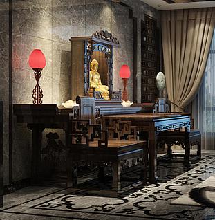 中式佛堂3d模型