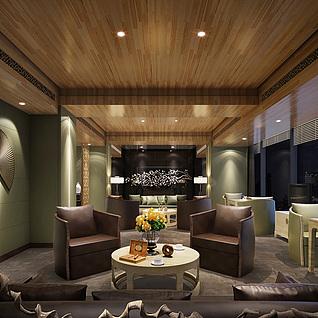 茶馆休闲区整体模型