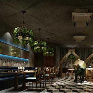 现代主题餐厅整体模型