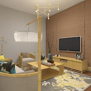 中式沙发组合3d模型