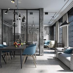 工业loft风住宅3d模型