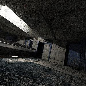 破旧诡异恐怖公厕内景3d模型