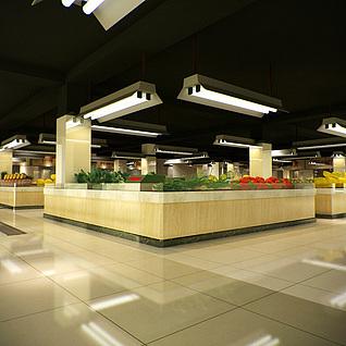 工装,室内,场景,商场超市3d模型