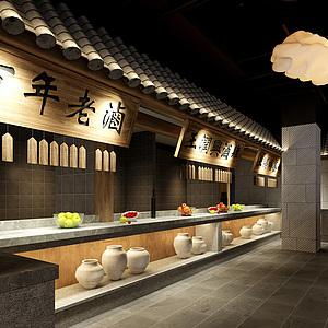 餐饮店,接待区,就餐区3d模型