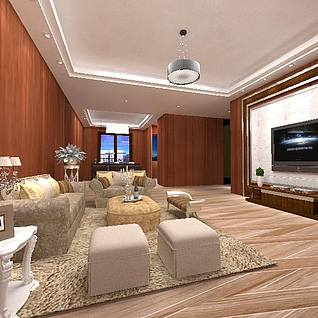 现代客厅整体模型3d模型